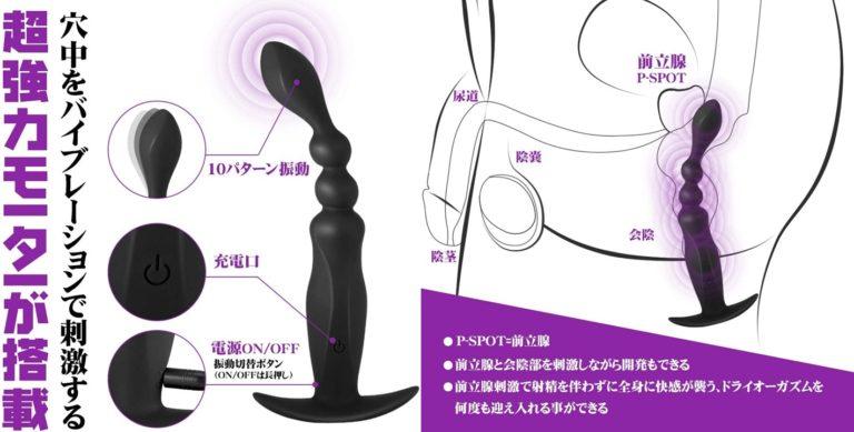 GoTide アナルプラグ アナルバイブ 電動 10種の振動モード エネマグラ 前立腺 会陰 肛門 男女兼用 防水 安全シリコン USB充電 静音 大人のおもちゃ アダルトグッズ
