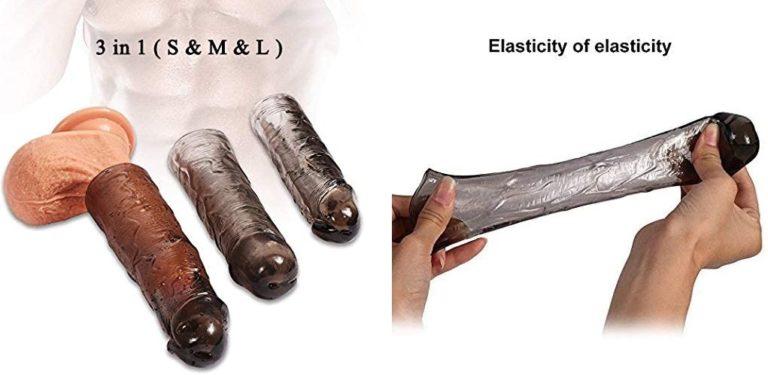 ペニスサック コンドーム 陰茎袖 拡大用 コンドーム サック リアル陰茎 再使用可能な陰茎袖 陰茎伸展遅延 柔らかい Gスポット刺激 情趣グッズ 大人のおもちゃ3セット(黒)