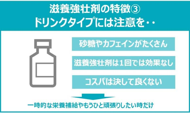 ドリンクタイプの滋養強壮剤には注意が必要