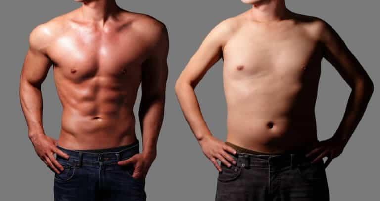 脂肪が減って筋肉質になった男性