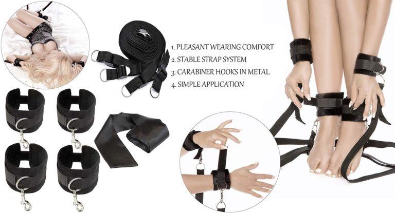 手錠足首拘束付きの拘束具目隠し、伸縮性のある調節可能な運動バンド、女性とカップル用のベッド拘束具