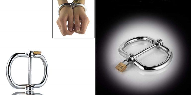 手枷 南京錠付き 金属製 手錠 中棒固定タイプ 大人のおもちゃ SMグッズ