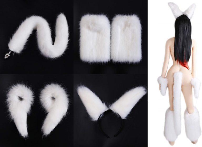 尻尾プラグ アナルプラグ SM コスプレ 白いキツネ 4点セット 狐の尻尾 +耳+ハンド+脚 SMアナル調教 拡張開発挿入 大人のおもちゃ(非振動)