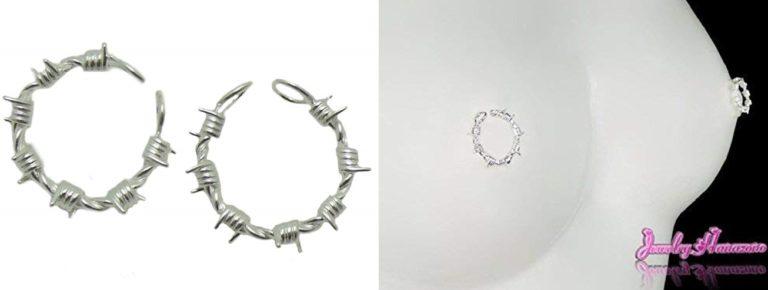 【Jewelry Hanazono】ニップルリング 有刺鉄線 シルバー 乳首アクセサリー