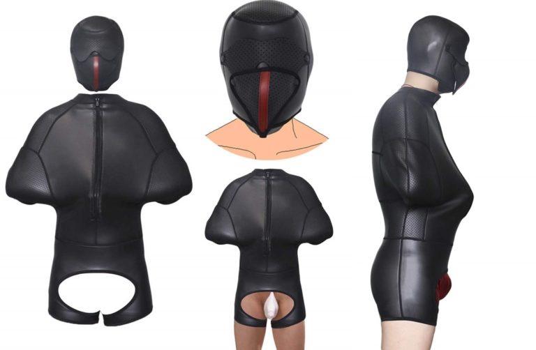 両腕拘束 タイツ 拘束衣+犬形全頭マスク 一体型