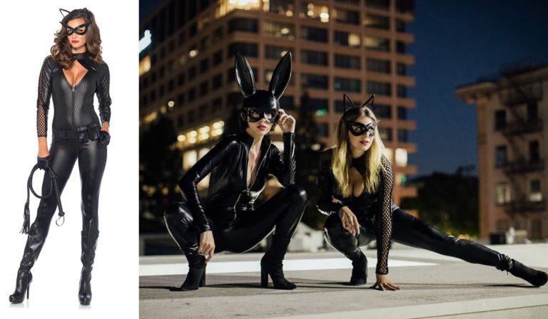 LEG AVENUE(レッグアベニュー) Wicked Kitty ベルト付きジップアップキャットスーツ アイマスク ワイヤー猫耳ヘッドセット M ブラック 85412