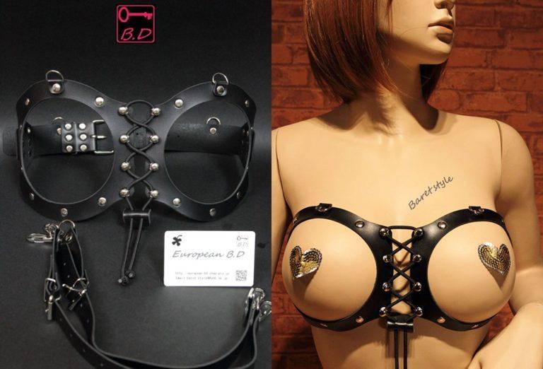 European B.D BDSM スレーブ バスト エキスパンダー 乳房枷 H36 (ラージ)
