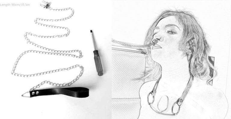 RaiFu 鼻フック SM拘束具 金属調節可能 ノーズクランプ 拘束ゲーム 牽引ベルト 大人 おもちゃ SMグッズ 鼻責めグッズ 金属チェーン付き