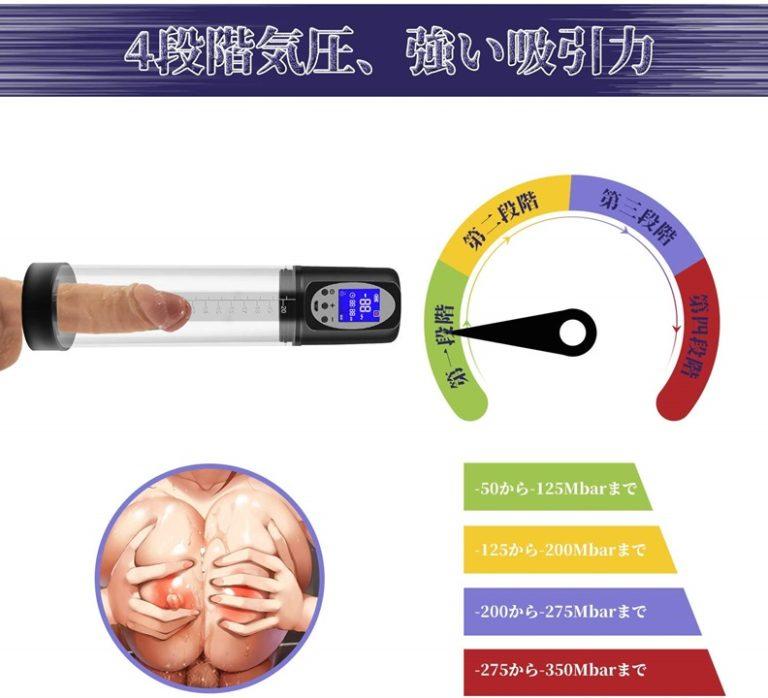 ペニスポンプの吸引力調整機能