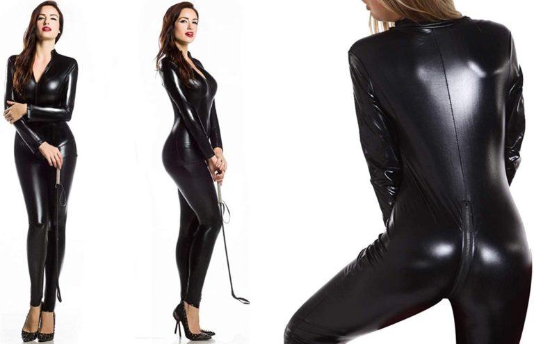 [ロフトプラネット] キャットスーツ ボンテージBDSM衣装 セクシーなクロッチオープンのボンデージ全身コスチューム 黒 M1-M882