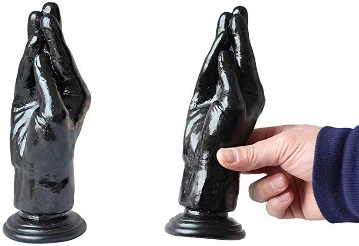 ディルド アナルプラグ 強力な吸盤付き 手型 男性も女性も使用可能アダルトおもちゃ 最大径6.7cm (ブラック)