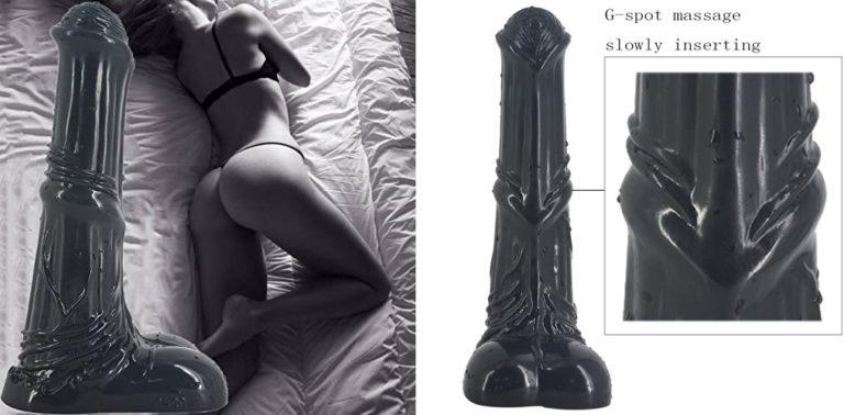 リアルシマディルドコックサッカーアナルプラグ巨大な動物ディルド女性GポイントマッサージセックスおもちゃカップルアダルトセクシーなセックスPVC 25.2 5.3Cm,Black