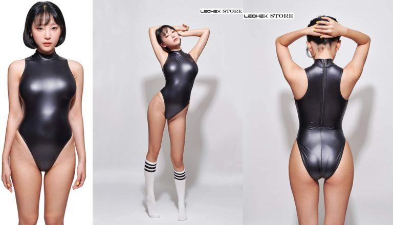 激レア!LEOHEX バックファスナー超光沢 生地ハイネックレオタードです目立つ競泳 水着 レースクイーン 女性用 かわいい コスチューム 人気 コスプレ (L)