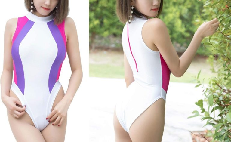 unison セクシー レオタード ハイレグ レースクイーン ボディコン スクール水着 スク水 競泳 コスプレ 衣装 (センターホワイト)