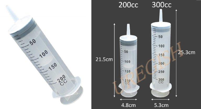 [ウレギッシュ] 注射器 インジェクタ シリンジ プラスチック 大容量 ペット 給餌 給水 投薬 洗浄 インク オイル 計量 注入 (200ml)