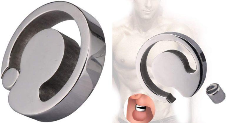 コックリング ステンレス ペニスリング 男性用 アダルトグッズ 人気 男性 拘束具マグネット 重り式磁石開閉男性