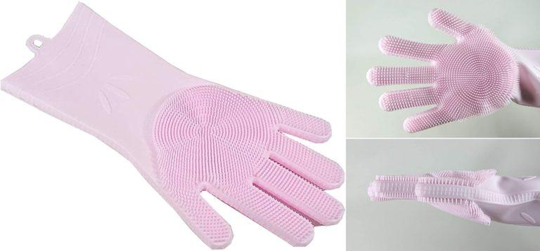 多機能シリコン手袋 ウォッシュハンド 片手のみ 両面ブラシ ピンク 万能洗浄ブラシ 食器洗い・お風呂掃除・トイレ掃除等に YSG-170-P