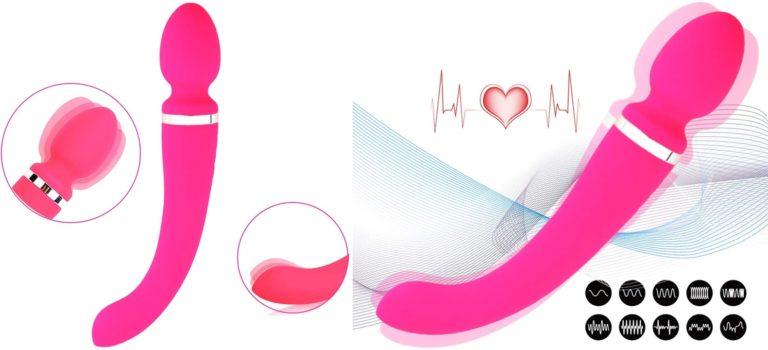 バイブ レーター 女性用 人気ランキング 強力 ローター ハンディマッサージャー 両端振動タイプ 電動 ・防水・USB充電・医療シリコン (レッド)