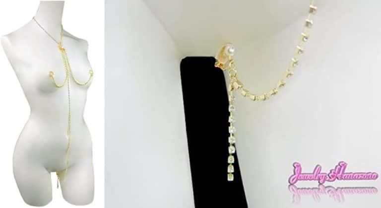 【Jewelry Hanazono】ジュエリースリーインワン マロンクリップ オーダーメイド クリスタル ゴールド 乳首アクセサリー ニップルジュエリー ボディジュエリー ノンピアス ノンホール バストトップ 乳首ネックレス クリット 3in1 セクシー