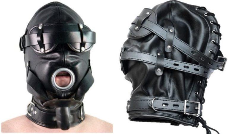 変装 変態仮面 全頭 PU レザー マスク 目隠し キノコ型猿ぐつわ付き レザーフード レザーマスク SM 拘束具