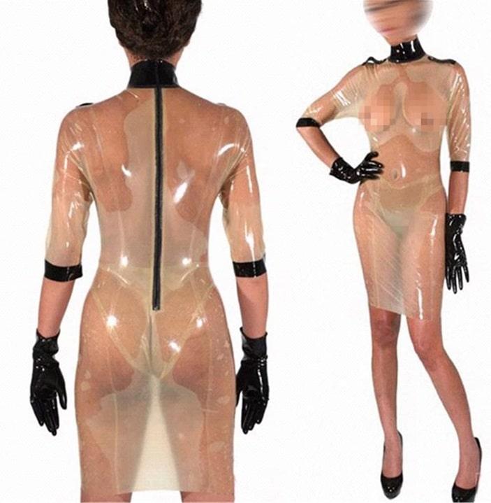 ラテックス透明女装なドレス
